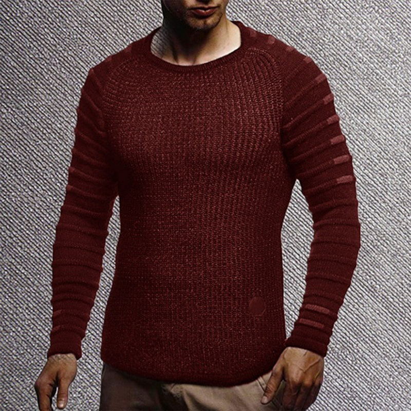 Shujin Mens Slim Casual Sweater Personality Fashion Woven Stitching Pullover Solid Thick Sweater Male Clothes Autumn Winter
