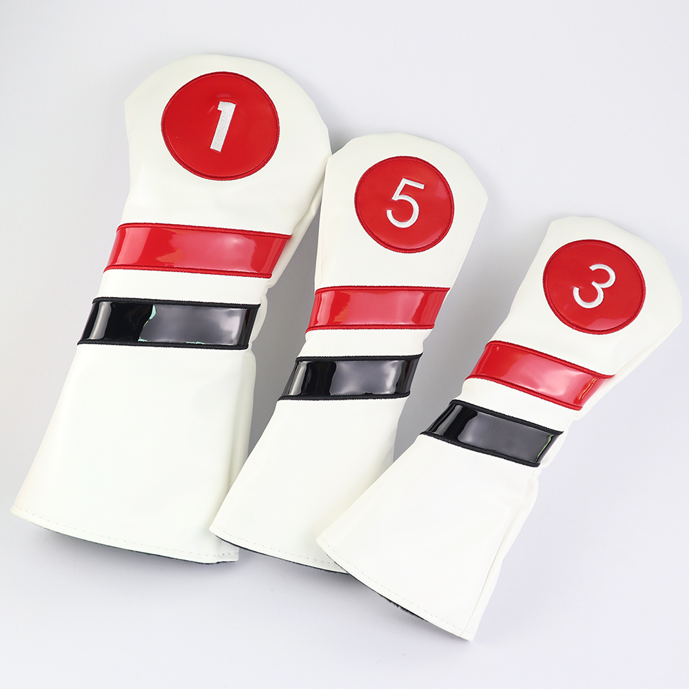 Golf Club Head Covers For Woods 1 3 5 Driver Fairway PU Waterproof Golf Headcover Protector