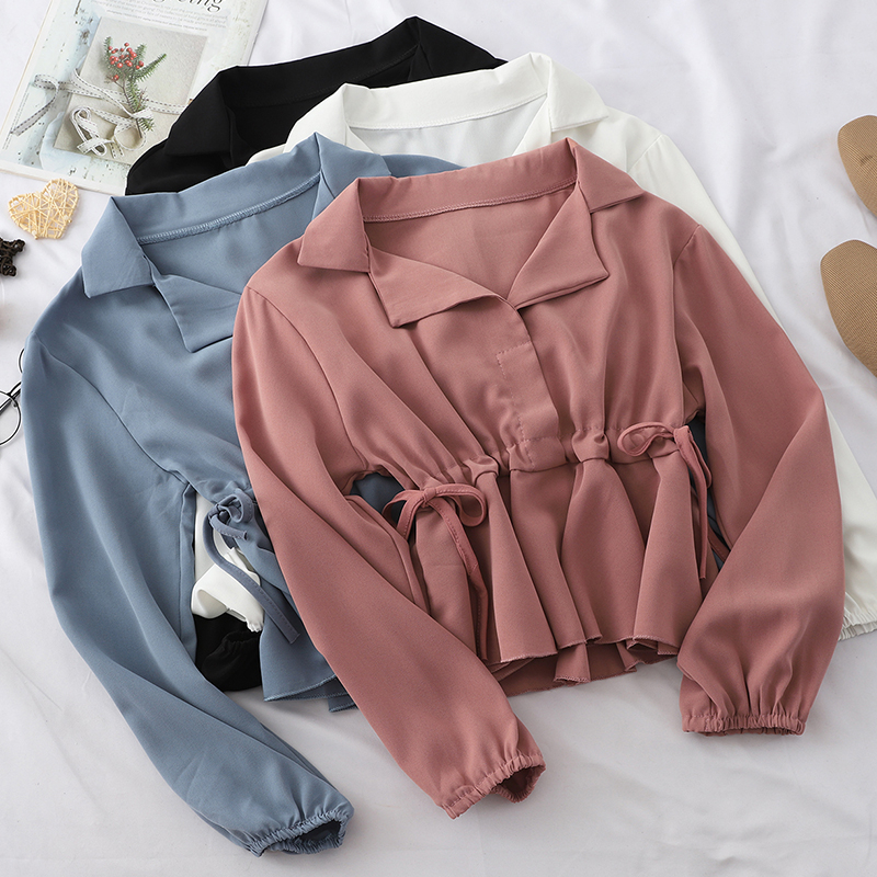 Korean Casual Chiffon Tops Womens Short Style Blouses Fit Solid Ladies Long Sleeve Tops Turn-down Collar Shirts Blusas Mujer