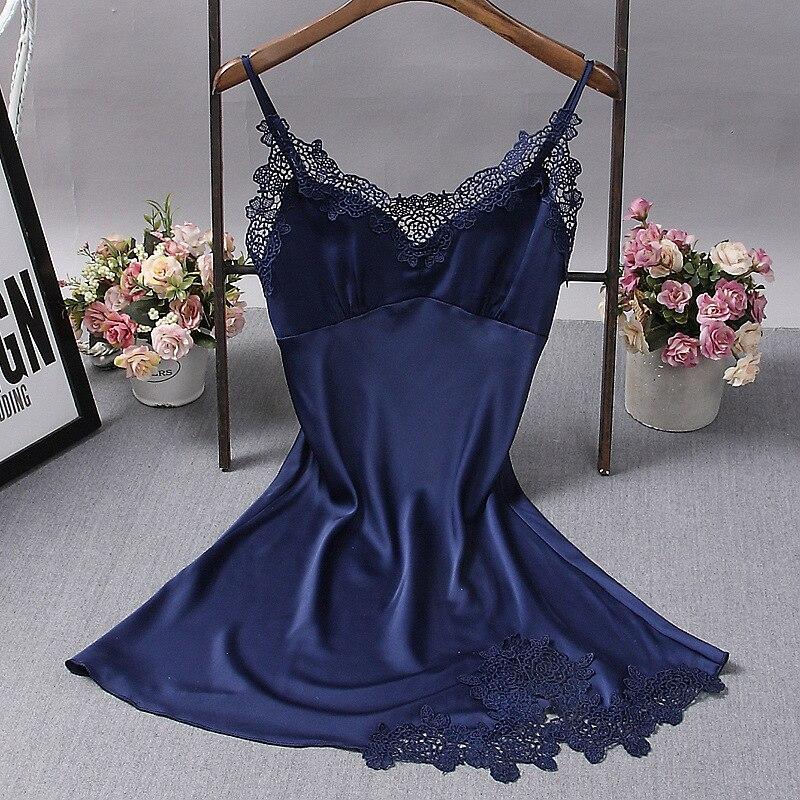 Ladies Sexy Silk Satin Nightdress Lace   Nightgown   Sleeveless Nighties V-neck   Sleepshirt   Backless Night Wear Sleep Wear For Women