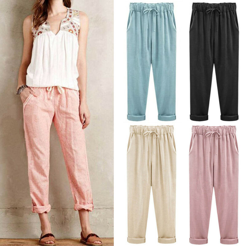 Women Plus Size Elastic Waist Harem Casual Pants Cotton Linen Loose Summer Autumn High Waisted Solid Drawstring Long Trouser