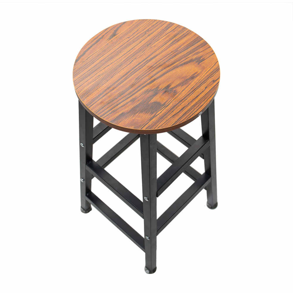 Marvelous Ship From United States Wooden Round Bar Stool Vintage Pub Seat Retro Metal Frame Wood Top Chair For Restaurant Home Office Machost Co Dining Chair Design Ideas Machostcouk