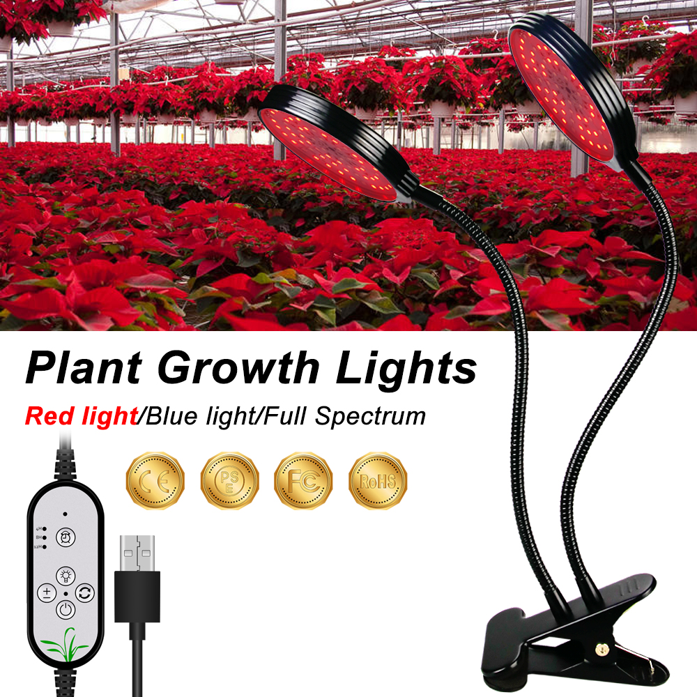 Grow LED Light Plant Growing Lamps LED USB 5V Clip Full Spectrum LED For LED Plant Indoor Vegetable Flower Seedling Indoor Grow