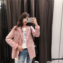 Plaid Pink Vintage Ladies Blazer Loose Casual Simple Suit Jacket Long Sleeve  Bleiser Mujer Korean Women Jacket Spring MM60NXZ