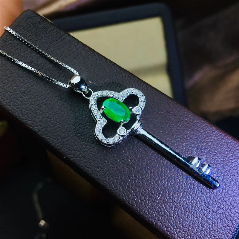 PROCOGEM 5A Smeraldo Naturale set di gioielli per Le Donne Chiave Bella Gioielli set Genuino Verde Pietre Preziose argento 925 #744 - 4