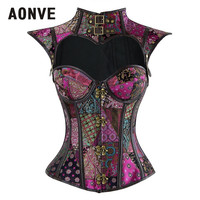 Aonve Steampunk Corset Gothic Purple Pink Sexy Bustiers Burlesque Goth Clothing Overbust Corsets Black Blue Halloween Corset