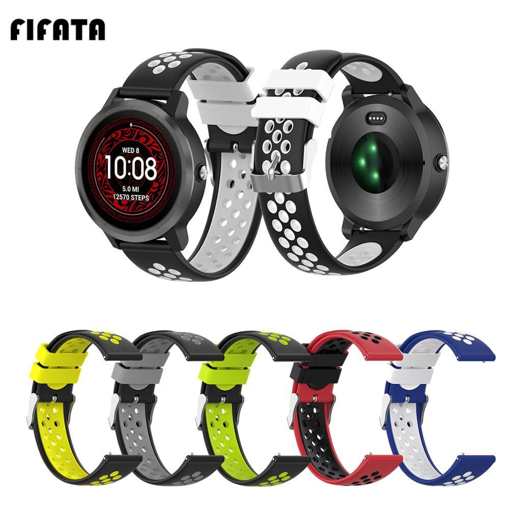 FIFATA Double Colour Stomata Soft Silicone Watch Strap For Garmin Vivoactive 3/Vivoactive 3 Music Smart Watch Replace Watch Band