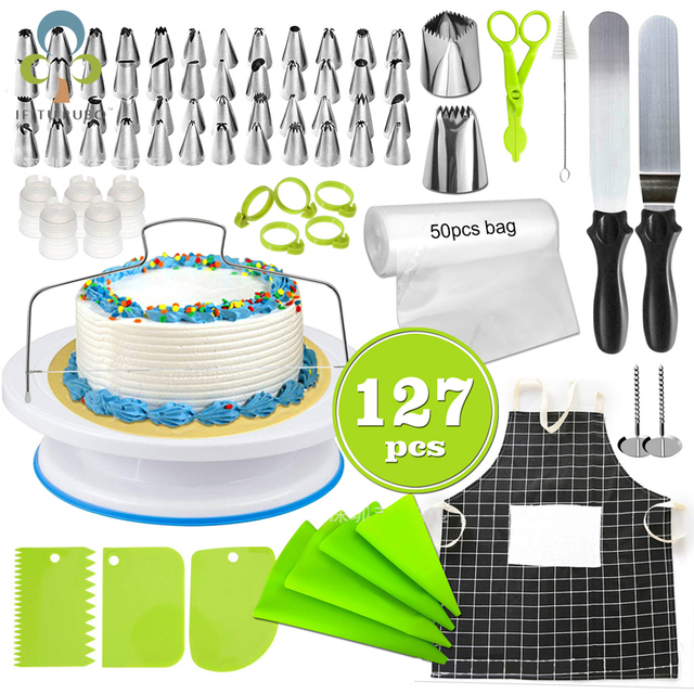 $ US $7.86 Cake Decorating Tools Kit Turntable Pastry Nozzles Cream Confectionery Bags Icing Piping Nozzles Tips Baking Tools For Cakes GYH