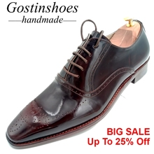Goodyear Handmade Welted Men Dress shoes Brown Genuine Leather Lace-up Pointed Toe Formal Shoes Men Oxfords Brogues GSTN015 стоимость