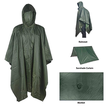 Multifunctional Raincoat Military Waterproof Rain Coat Survival Poncho Outdoor Camping Tent Mat for Outdoor Hunting Hiking