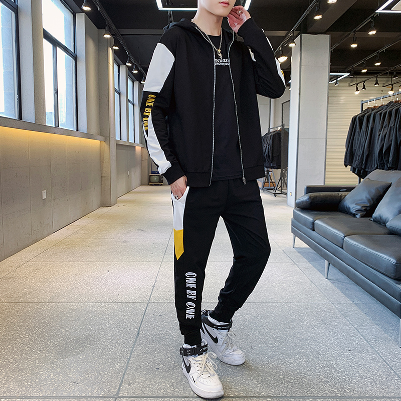 Men's Casual Sports Suit Hooded Fashion Solid Stripe Plain Tracksuit Gray Men Tuta Sportiva Uomo Mens Fashion Jogger Sets HH50TZ