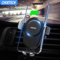 CHOETECH Qi Car Wireless Charger for iPhone 8 X XS Max Samsung Mobile Phone Charger 10W Fast Wireless Car Charging Mount Holder