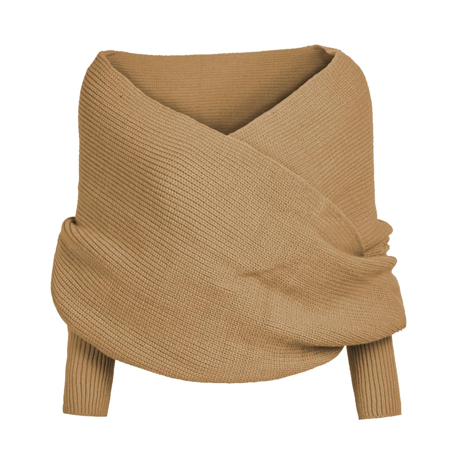 2020 Scarf Women Solid Scarf  Sleeve Crochet Knit Long Soft Winter Shawl шарф женский зимний