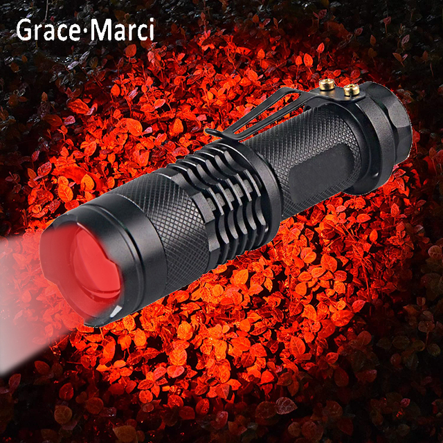 New Adjustable Zoom Red Flashlight Powerful 3W LED 625nm Red Light Torch Mini Pocket Light With Clip For Hunting Astronomy 1