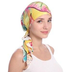 Мусульманская шапка под хиджаб, растягивающийся шифоновый тюрбан с цветочным рисунком, шапки Хемо, индийская повязка на голову, головной пл...