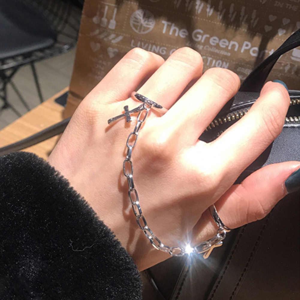 Srebrny kolorowy platerowany Retro Punk Hip-Hop pierścionek krzyż ręcznie palec łańcuch regulowane pierścionki biżuteria prezent mężczyźni damski łańcuszek