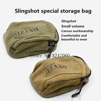 NEW 1pcs Slingshot fine Material canvas bags Balls Bag Case Pouch Holster Sling Shot Hunting Sports slingshot Accessories 3