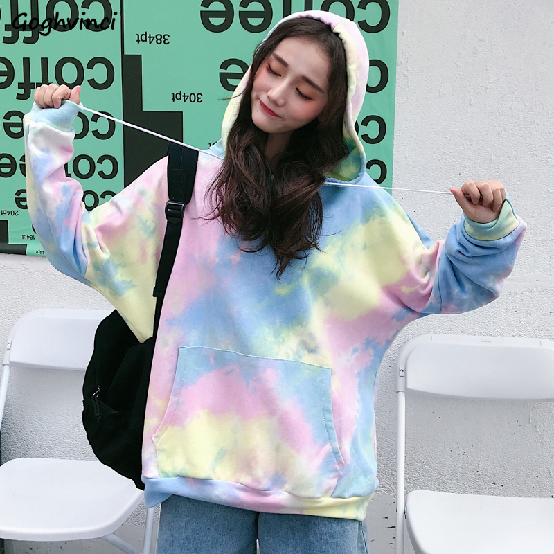 Hoodies Women Varicoloured Korean Style Ulzzang Harajuku Soft Loose Kawaii Lovely Streetwear All-match Womens Sweatshirts Chic
