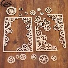 Qitai roda de madeira engrenagem padrão quadro canto para scrapbooking casa decoração memória produtos criativos cartão que faz wf055