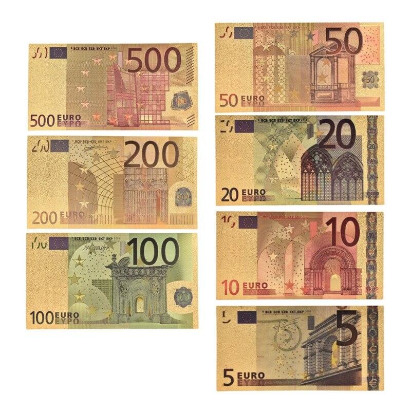 7 pçs/lote 5 10 20 50 100 200 500 euros notas de ouro em 24 k ouro falso papel comemorativo dinheiro para coleção conjuntos de notas de euro