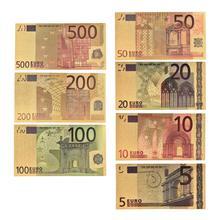 Notas de papel de ouro falsas em ouro 24k, 7, pçs/lote, 5, 10, 50, 100, 200, eur, 500, dinheiro comemorativo conjunto de notas para coleção euro