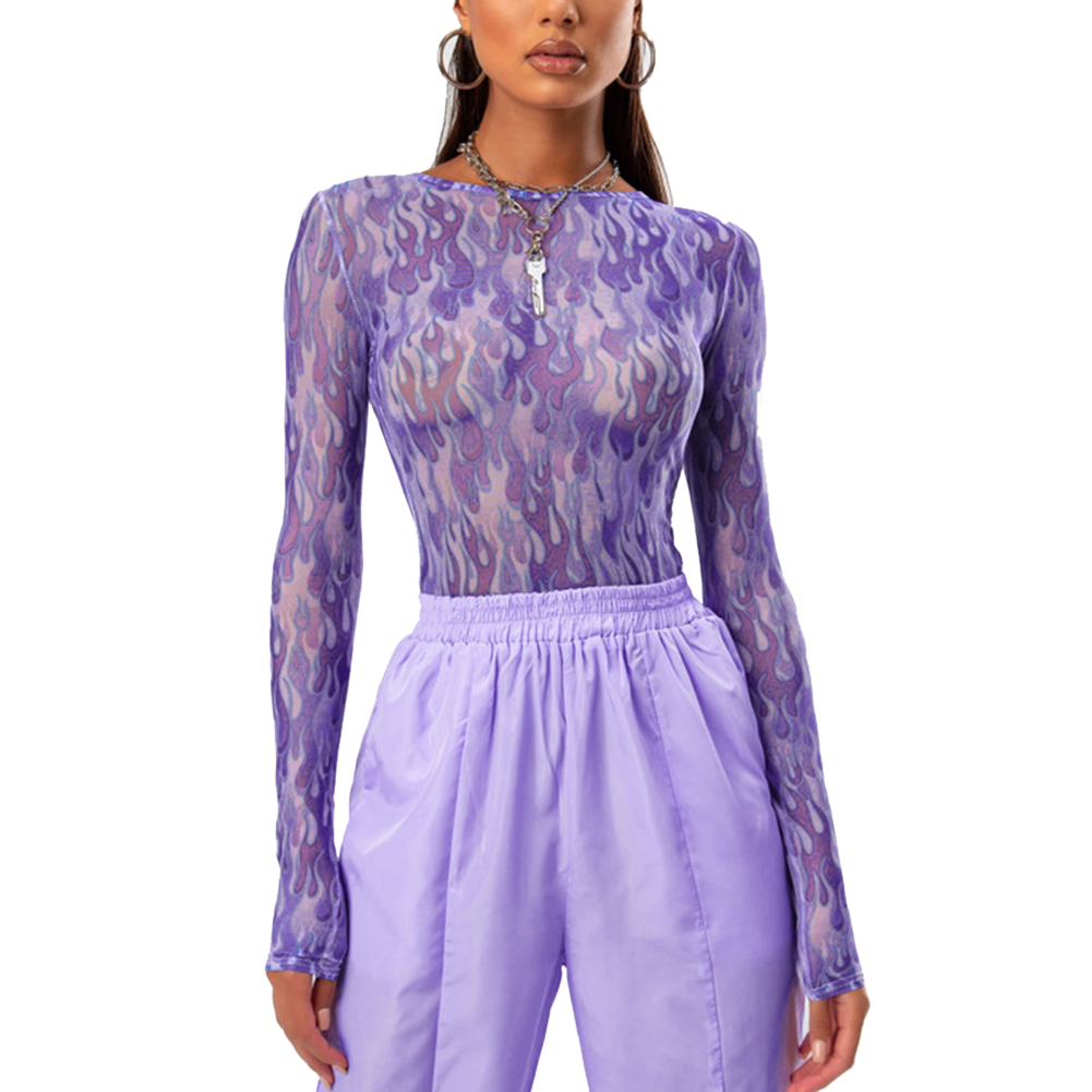 Hot Sale Sexy Women's Through Transparent Mesh Tops Long Sleeve Sheer Slim Ladies Crew Neck Purple T-Shirt Female Dropshipping