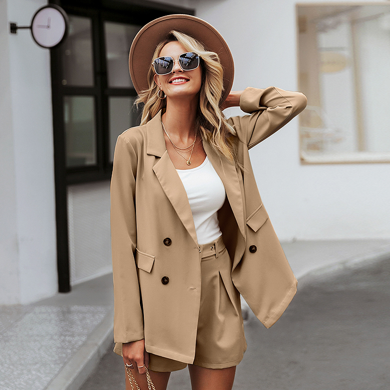 Simplee Chic Long Sleeve Women Blazer Double Breasted Office Ladies Blazer Coat Casual Streetwear Female Outwear Tops Coat 2019