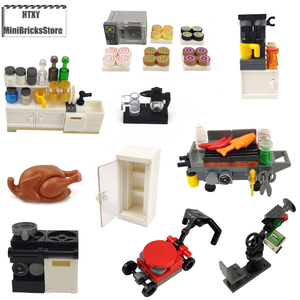 Toys Building Blocks City MOC Accessories Compatible With Kitchen Tools Microwave Grill Stalls Children Gifts Play With Friends(China)
