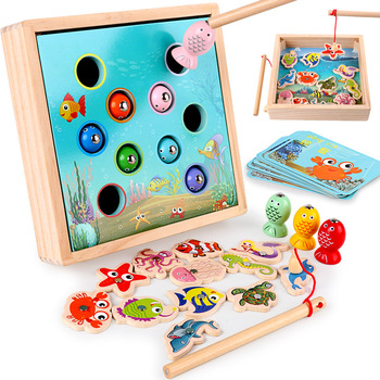 Children Wooden Toys netic Games Fishing Toy Game Kids 3d Fish Baby Kids Educational Toys Outdoor Funny Boys Girl Gifts shark bite game funny toys desktop fishing toys kids family interactive toys board game