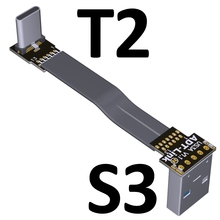 USB Type-C Ribbon Cable Flat EMI shielding FPC Cable USB 3.0 Type C 90 degree Angle Connector up downward 5cm-3m USB 3.1