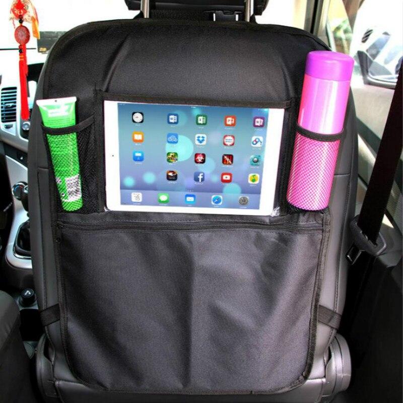 Organizador Universal impermeable para asiento trasero de coche, bolsa de almacenamiento multibolsillo, funda trasera para asiento, bolsa de accesorios para coche