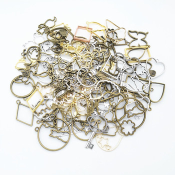 50g 100g Mixed Charms Pendants UV Epoxy Resin Mold Metal Geometric Frame Charms Pendants Accessories for Jewelry Making DIY 50g 100g mixed flower petal metal charms pendants vintage antique bronze silver bracelets necklace for diy jewelry making craft