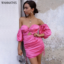 WannaThis Off Shoulder Long Sleeve Drawstring Hollow Out Sexy Strapless Backless Bandage Satin Skinny Pink Silk Mini Party Dress