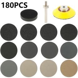 180pcs 2 Inch Sandpaper Sanding Disc Set Wet Dry Sandpaper Assortment 60-10000 Grit Interface Pad Grinding Abrasive Sanding Set