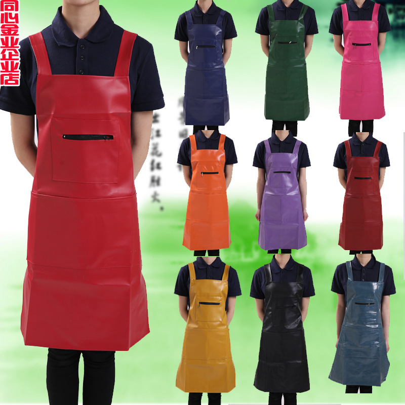 Pu Waterproof Leather Apron Oil Resistant Leather Work Clothes Suspender Strap Restaurant Kitchen Wash Dishes Work Clothes Apron|Oversleeves| |  - title=