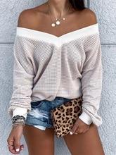 2019 Autumn Women Elegant Leisure Top Female Stylish Basic Sweats V Neck Long Sleeve Pointelle Casual Sweatshirt stylish scoop neck long sleeve zipper design women s sweatshirt