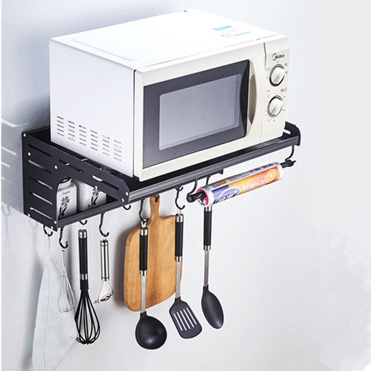 space aluminum microwave oven shelf bracket wall mounted kitchen rack 2 tier kitchen shelf microwave oven rack storage