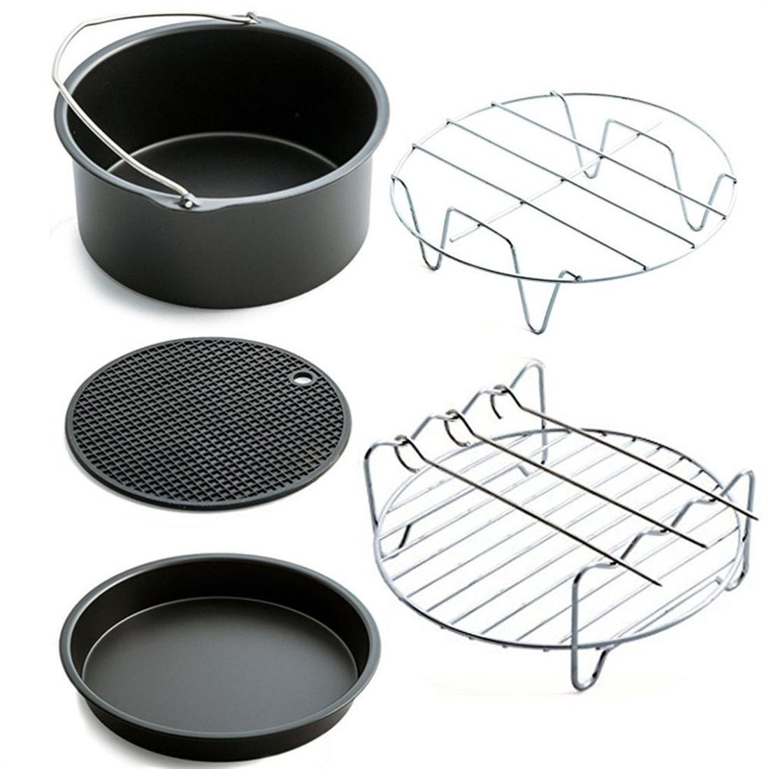 5Pcs 6 Inch Air Fryer Frying Cage Dish Baking Pan Rack Pizza Tray Pot Accessories Bakeware Sets Air Frying Pan Accessories