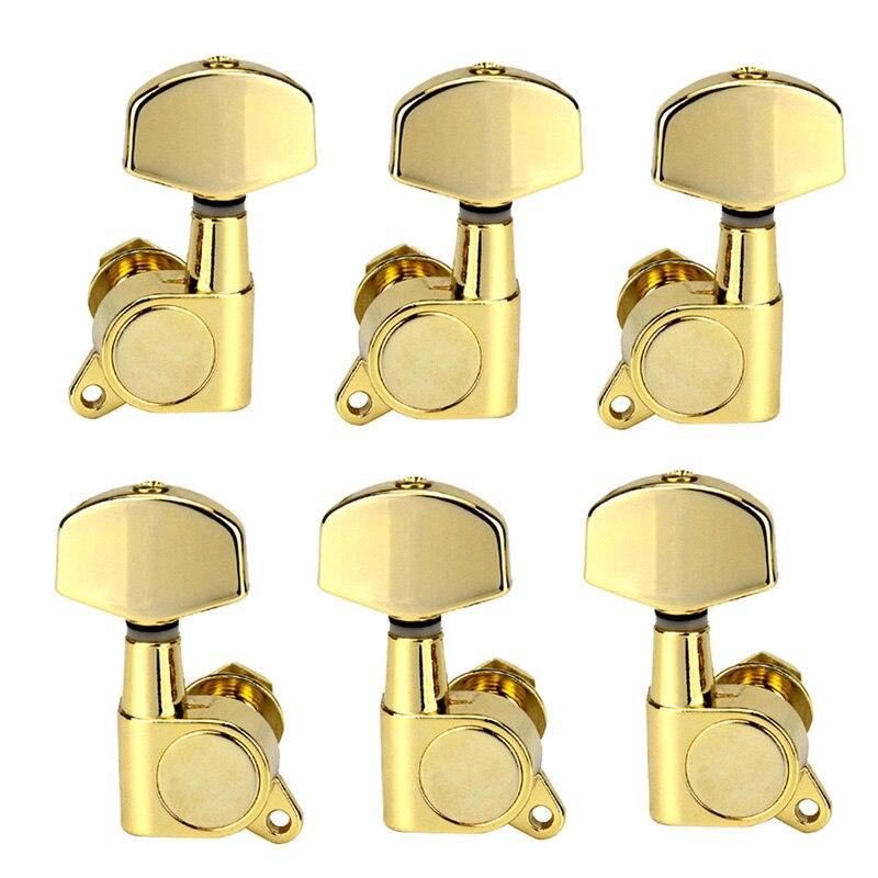 Un ensemble 6 pièces Chrome verrouillé chaîne Tuning chevilles clés accordeurs têtes de Machine pour acoustique guitare électrique serrure Style Schaller
