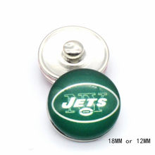 Snap Button 18mm 12mm York Jets Charms Ginger Bracelet for Women Men Football Fans Gift Paty Birthday Fashion 2019(China)