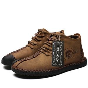 Image 4 - JUNJARM, модные мужские ботинки высококачественные зимние ботильоны из спилка теплая зимняя обувь на меху с плюшевой подкладкой на шнуровке большой размер 38 48