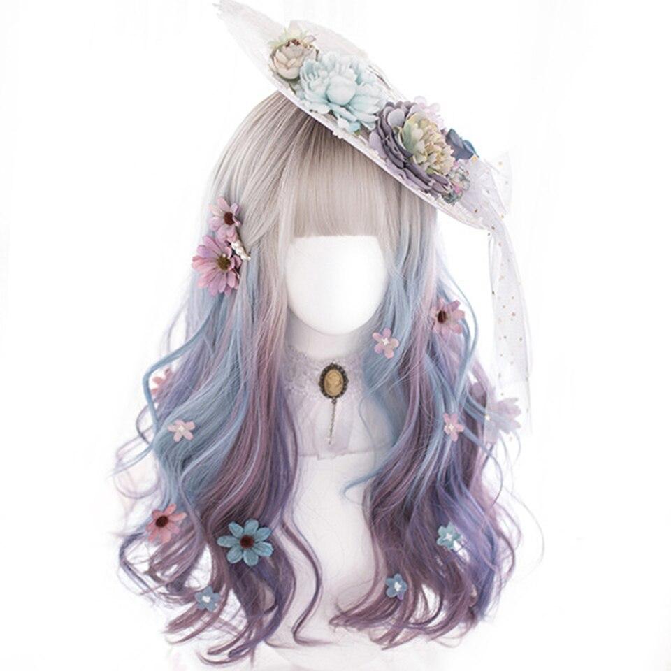 Houyan senhoras cosplay longo encaracolado ondulado cabelo