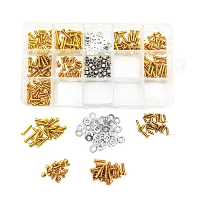 Universal Golden Screws Silver Washers Box Set for HSP Axial 1//8 1//10 RC Car Set