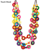 Wood bead necklace / Colored coconut shell  women medium length necklace / wholesale dropshipping handmade wood triangle bead necklace