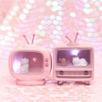 Recién llegado, decoración hogareña de gatos, Color rosa claro, bebé, niños, lampara,...