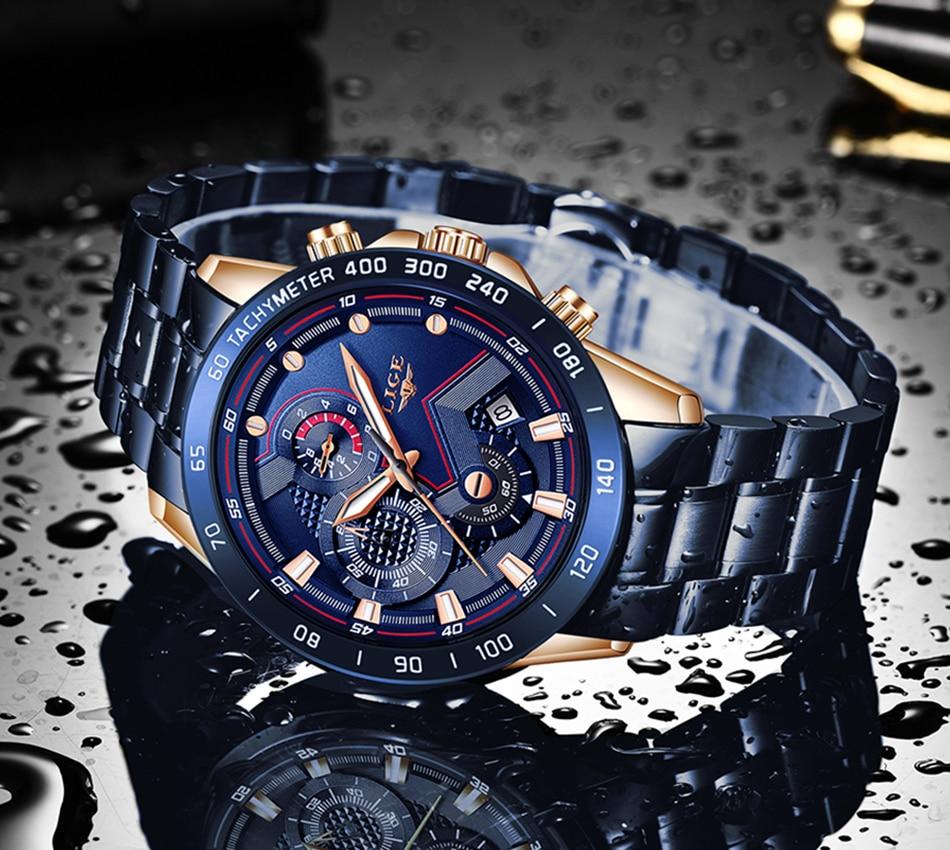 H738a90b37b854524931ef4467d70c232u LIGE Men Watches Top Brand Luxury Stainless Steel Blue Waterproof Quartz Watch Men Fashion Chronograph Male Sport Military Watch