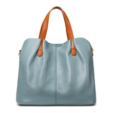 Fashion shoulder bag simple solid color high capacity tote travel designer brand luxury women genuine leather bags crossbody