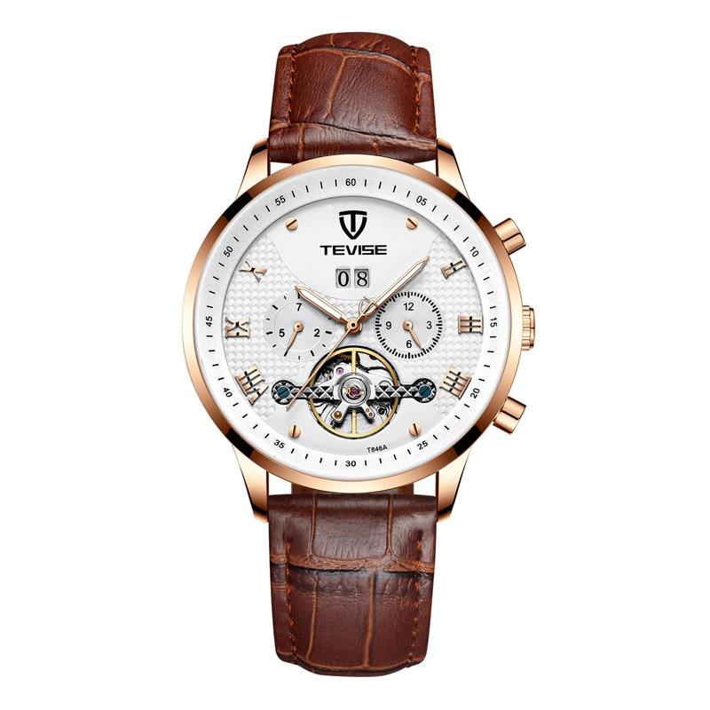 2019 nouvelle montre hommes mode Sport Quartz horloge hommes montre TEVISE marque luxe en cuir affaires étanche montre Relogio Masculino