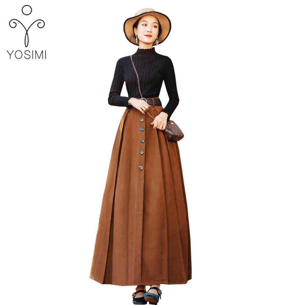 YOSIMI 2019 가을 겨울 빈티지 여성 정장 전체 슬리브 블랙 블라우스 탑과 모직 스커트 세트 투피스 양복 여성 Vestidos