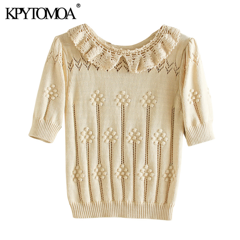 KPYTOMOA Women 2020 Sweet Fashion Crochet Appliques Knitted Sweater Vintage O Neck Short Puff Sleeve Female Pullovers Chic Tops